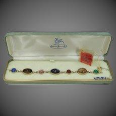 Large AMCO Jewels Gold Filled Semi Precious Gems Scarab Bracelet MIB