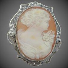 1920s Art Deco Sterling Silver Filigree Shell Cameo Pin