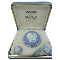Wedgwood VanDell Sterling Silver Jasperware Pin & Earrings Set