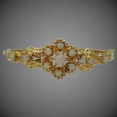 14k Solid Gold Genuine Opals Bangle Bracelet