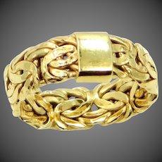 18k Gold Byzantine Pattern Size 9 Ring
