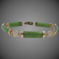14k Gold Natural Green Jade Bracelet