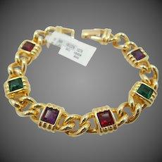 """Signed Swarovski Princess Cut """"Jeweled"""" Bracelet"""