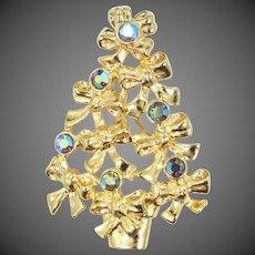 AVON Bows & Blue Rhinestones Christmas Tree Pin Mint in Box