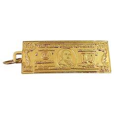 14k Solid Gold 100 Dollar Bill Charm / Pendant