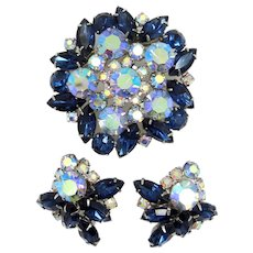Juliana Wide Navette Earrings & Matching Floral Spray Pin