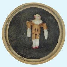 """Grodnertal 5/8"""" High Antique Peg Wooden Penny Doll"""