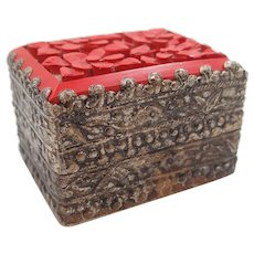 Neat Carved Cinnabar Trinket or Pill Box