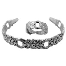 Solid Sterling Silver Floral Cuff Bracelet & Ring