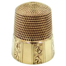 10k Gold Simons Paneled Thimble with Floral Design