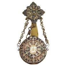 Victorian Gilt Filigree Chatelaine Pocket Watch Case