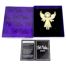Bob Mackie Mosaic Angel Pin Mint in Box with Brochure