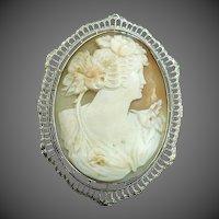 10k White Gold Filigree Art Deco Carved Shell Cameo Pin/Pendant LARGE