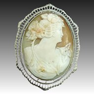 10k White Gold Filigree Art Deco Carved Shell Cameo Pin/Pendant LARGE