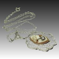 14k White Gold Filigree Habille Cameo Diamond Necklace