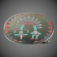 F. L. Natachu Zuni Piano Dancer Sterling Silver Belt Buckle