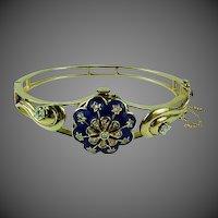 Victorian 14k Gold Diamonds & Enamel Bracelet Watch