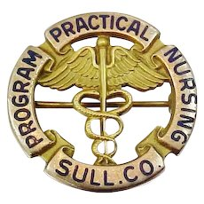 10k Solid Gold Sullivan County Practical Nursing Program Nursing Pin