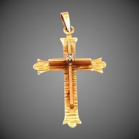 14k Gold & Diamond Cross Pendant