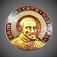 10k Gold St. Vincent's Hospital Nursing Pin Large & Heavy