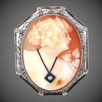 14k White Gold Filigree Habille Cameo Pin / Pendant Diamond Necklace