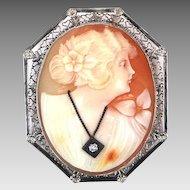 14k White Gold Filigree Habille Cameo Pin / Pendant Diamond Necklace