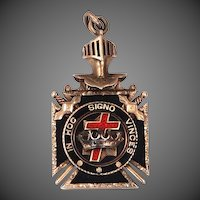 10k  Gold Enamel Knights Templar Masonic Watch Fob
