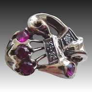 10k Diamonds & Rubies Retro Ladies Ring circa 1940's