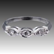 14k White Gold 3 Diamond Stacking Ring or Wedding Band