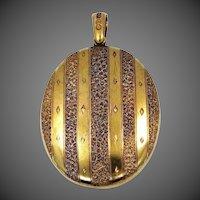 Victorian 15k Gold HUGE Locket Buckle Motif