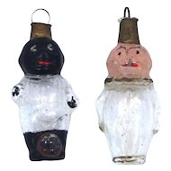 """2 Victorian Glass Germany Christmas Ornaments """"Picaninny"""" & Clown"""
