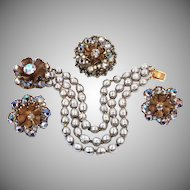 Signed Miriam Haskell Faux Baroque Pearls & A/B Parure