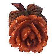 Vintage Carved & Dyed Bakelite Floral Brooch