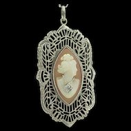 14k Gold 1920's Filigree Carved Shell Cameo Necklace (Cameo has diamond necklace)