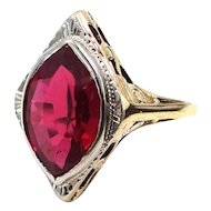 14k Yellow & White Gold Art Deco Ruby Filigree Ring
