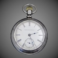 1800's Elgin 17 Jewel Pocket Watch W/Fahys Coin Silver Case