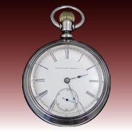 1800's Elgin 17 Jewel Pocket Watch W/Fahys Coin Silver Case