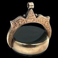 Victorian 9k Gold & Agate Bloodstone Swivel Fob