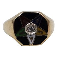 14k Gold Diamond & Enamel Eastern Star Ring