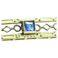 10k Gold Filigree Sapphire Art Deco Bar Pin
