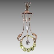 10k Green Gold Diamond & Pearl Victorian Lavaliere