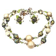 Vendome Foiled Art Glass Necklace & Matching Earrings