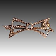 Victorian 10k Gold & Seed Pearls Bow Brooch