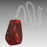 HUGE Natural Baltic Amber Pendant w/Sterling Chain