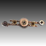 9k Tri-Color Gold & Bohemian Garnets Victorian Bar Pin