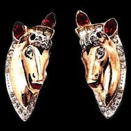 Coro Adolph Katz Sterling Vermeil Horse Head Earrings