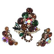 Weiss Jeweled Colors Prong Set PIn & Earrings Set
