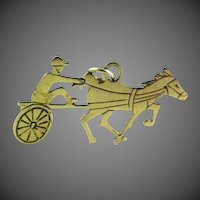 14k Solid Gold Vintage Saratoga Springs Racing Charm