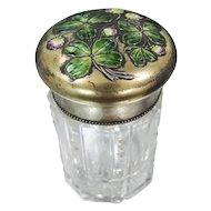 Victorian Sterling Enamel 4 Leaf Clover Perfume Bottle