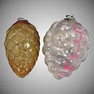 2 1920's Feather Tree Ornaments w/Kugel Clips Grapes & Pine Cone